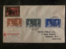 1937 British Guiana King George VI Coronation FDC First Day Cover KGVI To London