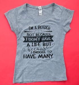 I'm A Reader T-shirt S Bookworm Booknerd Graphic Tee Shirt V-neck Top