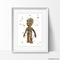 Groot Print Poster Watercolour Canvas Wall Art Gift Guardians of the galaxy
