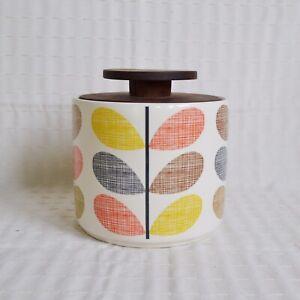 Orla Kiely Stem Jar, 2010 Ceramic Kitchen Storage Jar, Multi Stem Wooden Lid