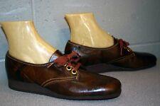 NOS 8.5 A Brown Leather Vtg 1960s 1970s Platform Wedge Heel Oxford Shoe 60s 70s