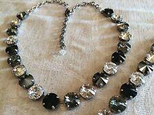 Swarovski Crystal Elements  Necklace & Bracelet Black White Grey12mm Jewelry New