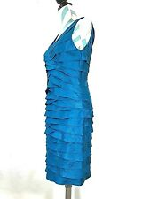Adrianna Papell Peacock Blue Shimmer Dress Tiered Ruffle Layers Sleeveless Sz.6