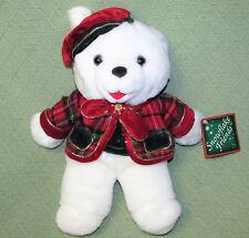 "1999 SNOWFLAKE TEDDY CHRISTMAS BEAR BOY with TAG & Tam Plush Stuffed DAN DEE 13"""