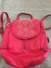 Red Michael Kors Handbag Backpack Leather Studded