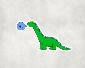 2 x Hi Dinosaur Dino Sticker Car Bike Seal Laptop Indoor Decals