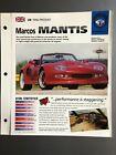 """1996 > Marcos Mantis Roadster IMP """"Hot Cars"""" Spec Sheet Folder Brochure Awesome"""