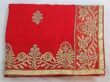 Indian Silk Bollywood Designer Kundan Work Saree Georgette Sari Bridal Dress