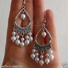 Pearls Bridal Cute Long Chandelier Earrings 925 Sterling Silver Hook Faux White