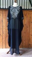 Moroccan Dubai abaya kaftan caftan black silver beads sequins jewels maxi dress