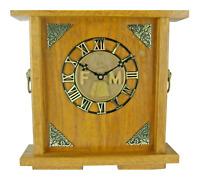 Masonic Wall Shelf Clock Dark Oak Wood Free Mason Bronze Emblem Symbol The Lewis