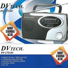 AC/DC Radio Portátil DVTECH 1721AC Tres Bandas AM/FM/SW Pila UM-1 y Corriente