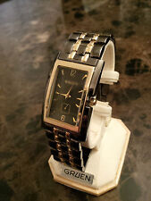 Wow! New, never worn Gruen men's watch, gunmetal+gold color FREE SHIPPING in NA