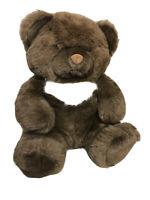 "1988 Crisha Playful Plush 14"" Sitting Brown Bear with a Cool White Patch"