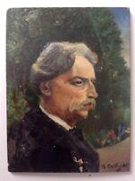 Tableau Ancien Impressionniste Portrait Homme dans un Parc Huile signée c1919
