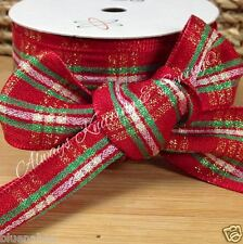 per metre beautiful red with gold & green tartan fabric Christmas ribbon 38mm