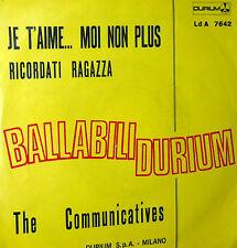 """JE T'AIME MOI NON PLUS RARE COVER 7"""" THE COMMUNICATIVES ITALY RICORDATI RAGAZZA"""