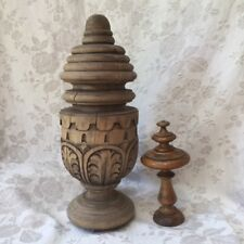 "Huge UNIQUE Old FRENCH PRIMITIVE Hand-Carved WOODEN FINIAL 15""Hx5.50""D Folk Art"