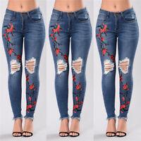 Women's Denim Skinny Ripped Pants High Waist Stretch Jeans Slim Pencil TrousersW