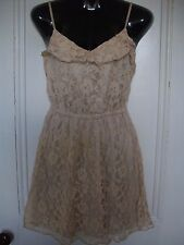 H & M NUDE FLORAL LACE STRAPPY SKATER MINI DRESS CUTE FRILL PARTY  8