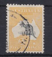 K741) Australia 1915 5/- Deep Grey & Chrome 2nd wmk. Kangaroo, ACSC43B