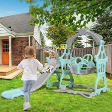3 in 1 Fun Swing Set Kids Playground Slide Outdoor Backyard Space Saver Playset