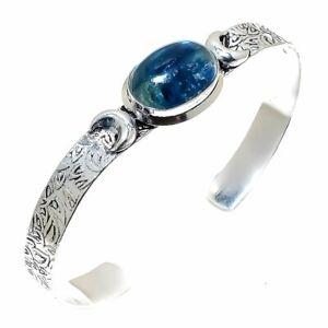 Kyanite Gemstone   Handmade Ethnic Cuff Bracelet Adjustable