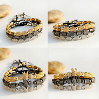 Luxury Men's Hexagon Beads Bracelets CZ Crown King Hematite Adjustable Bracelets