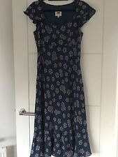 FNW Fenn Wright Mason Teal Pink Floral Retro Print 100% Silk Maxi Dress Sz 12