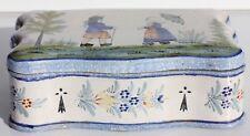 CAJA DE BISCUIT ANTIGUA - LOZA QUIMPER - HB - PARA LOS BRETONES -21 x 13 8 cm