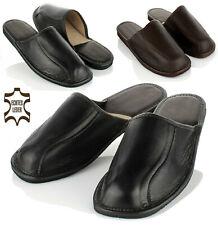 Elegante Herren KALBSLEDER Hausschuhe Pantoffeln schwarz Schafwolle 40-47 NEU