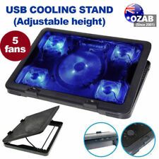 """Adjustable Height Laptop Notebook Cooling Pad 5 Fans Blue LED Fit 7""""-17"""""""