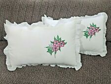 Pillow Case 2 Hand Embroidered 100% Cotton 60cmx40cm soft Standard Free Shipping