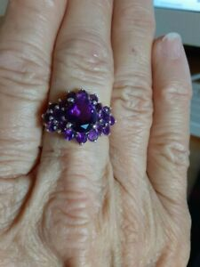 sterling silver 925 amethyst cluster ring size 9