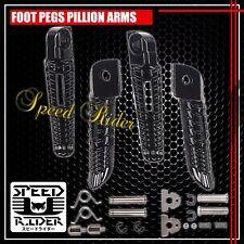 BLACK FRONT+REAR FOOT PEGS ALUMINUM RIDER DRIVER SET 00-15 GSXR 600/750/1000 GSX