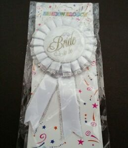 Hen Party Bride to Be White Silver Glitter Rosette Brooch Badge Girls Night Out