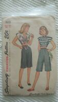 1945 Vintage Simplicity Sewing Pattern #1613 Teen-Age Shorts Blouse Sz 14