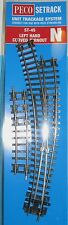 PECO St-45 Left Hand Curved Turnout Setrack N Gauge