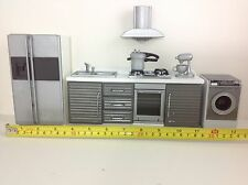 Dollhouse Miniature Modern Kitchen Furniture Silver Gray w/ Washing Machine 1:12