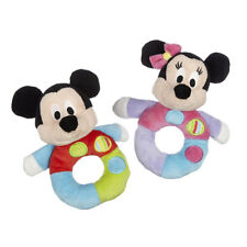 POSH PAWS PLUSH DISNEY BABY MICKEY OR MINNIE MOUSE BABY RING RATTLE NEW