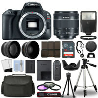 Canon EOS Rebel SL2 / 200D Body+ 3 Lens Kit 18-55mm IS STM + 16GB + Flash & More