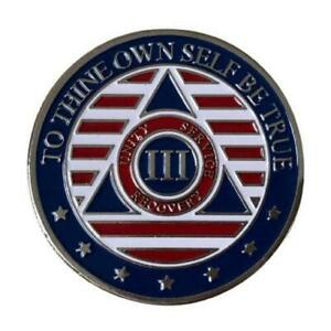 3 Year Patriotic Stars and Stripes AA/NA Recovery Medallion - 40mm Fancy Chip/Co