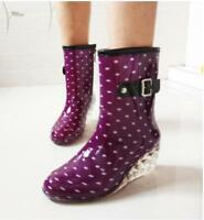 Womens Fashion Waterproof Dot Wedge Heels Mid Rain Boots Rubber Non-slip Shoes