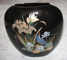 Vase Porzellan schwarz mit Golddekor