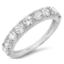 0.8ct Round Cut Stackable Bridal Wedding Petite Anniversary Band 14k White Gold