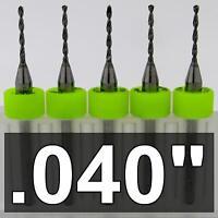 """.040"""" #60 < FIVE Pieces> Premium CARBIDE Drill Bits 1/8"""" shaft shank cnc R/S"""