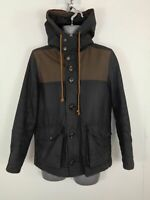 MENS RIVER ISLAND BLACK/BROWN CONTRAST ZIP/BUTTON UP CASUAL COAT JACKET S SMALL