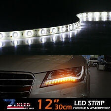 "2x White 12"" Car Motor Vehicle Flexible 18-LED Waterproof Strip Lights Bulbs 12V"