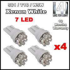 4 X 7 LED 501 T10 W5W Sidelight / Number Plate / Interior bulbs - XENON WHITE