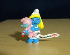 Smurfs Smurfette & Baby Smurf Vintage Figure Display Toy Schleich Germany 20192